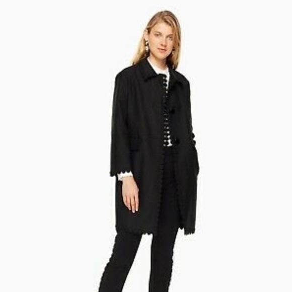 NWT Kate Spade Floral Lace Trim Black Coat/Jacket